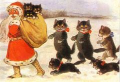 Father Christmas and His Followers! Vintage Black Cat Illustration Christmas Card