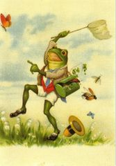 'The Butterfly Collector' Charming Frog Illustration Greeting Card