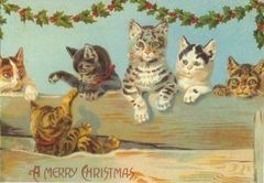 Cute Kitten Christmas Card Vintage Repro