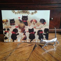 £1 Christmas Card!!! 'A Christmas Toast' Vintage Black Cat Greeting Card Repro.