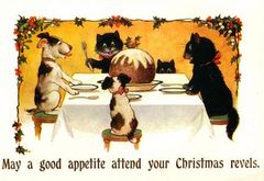 A Christmas Feast Cheerful Vintage Christmas Illustration Greeting Card
