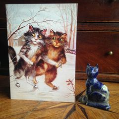 £1 Christmas Card!!! 'The Skaters' Vintage Maurice Boulanger Cat Greeting Card Repro.