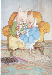 £1 Card!!! Lovely Illustration of a Pig Couple Cuddling on the Sofa