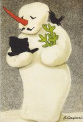 Vintage Snowman Greeting Card Repro
