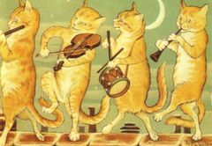 The Rooftop Musicians. Vintage Cat Illustration Greeting Card
