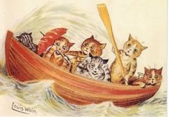 Help! Louis Wain Illustration Greeting Card. Cats in a Boat!