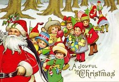 A Joyful Christmas. Bright Santa Illustration Christmas Card.