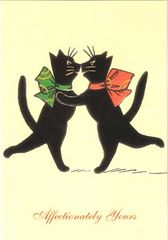 £1 Card!!! 'Affectionately Yours' Cute Vintage Cat Illustration Greeting Card. Perfect for Valentines Day.