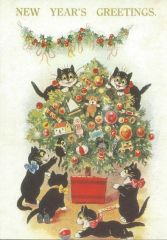 The Christmas Tree. Vintage Cat Illustration New Year's Greeting Card