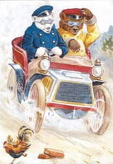 'Hold On To Your Hat!' Fun Vintage Bear Christmas Card Repro