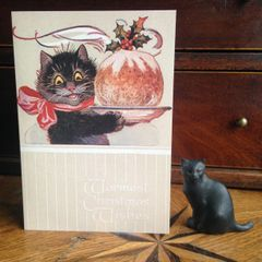 £1 Christmas Card!!! 'The Christmas Pudding' Vintage Black Cat Greeting Card Repro.