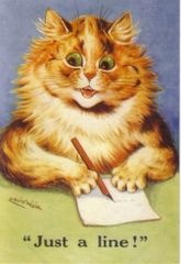 Just a Line. Vintage Cat Illustration Correspondence Card. Louis Wain.