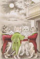 £1 Card!!! 'Moonlight Serenade' Romantic Vintage Cat illustration Greeting Card. Love.