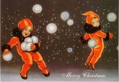 Imps Playing With Snowballs Stylish Vintage Christmas Card
