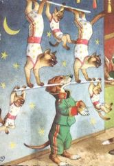 Teamwork. Fun Vintage Illustration Greeting Card. Circus Acrobat Cats and Dog