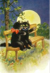 Romantic Black Cat Greeting Card Vintage Repro