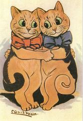 Two Cats Having a Cuddle. Nice Romantic Louis Wain Illustration Greeting Card.