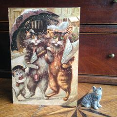 £1 Christmas Card!!! 'Cats Christmas Spree' Vintage Maurice Boulanger Cat Greeting Card Repro.