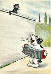 'A Doggone Good Tune' Fun Dog Greeting Card Vintage Repro