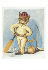 The Cricketer. Louis Wain Illustration Greeting Card.