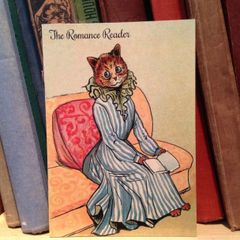 'The Romance Reader' Sweet Louis Wain Illustration Greeting Card