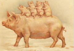 Piggy Back Ride. Vintage Pig Illustration Greeting Card