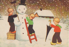 £1 Christmas Card!!! 'Finishing Touches' Vintage Snowman Christmas Card Repro.