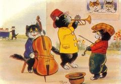 The Street Musicians. Fun Vintage Illustration Greeting Card. Black Cat Trio.