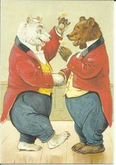 'Cheers!' Celebratory Vintage Bear Illustration Greeting Card