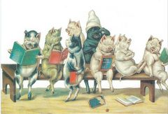 £1 Card!!! 'School For Pigs' Vintage Illustration Greeting Card.