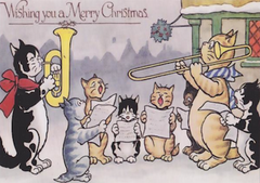 Hark the Herald Kitties Sing! Vintage Cat Illustration Christmas Card.