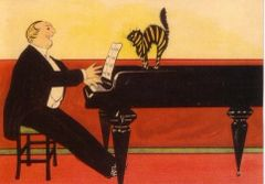 The Unhappy Audience. Vintage Illustration Greeting Card of a Pianist and a Cat.