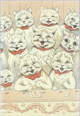 At the Theatre. Louis Wain Illustration Greeting Card.
