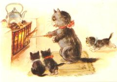 £1 Christmas Card!!! 'The Christmas Dinner' Vintage Black Cat Card Repro.