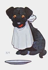 Now I'm Ready. Cute Dog Vintage Illustration Greeting Card.
