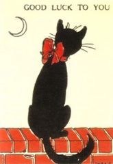 Moonstruck! Vintage Black Cat Good Luck Card.