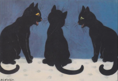 Christmas Gossip! Louis Wain Black Cat Illustration Christmas Card.