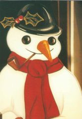 'The Jolly Christmas Snowman' Vintage Greeting Card Repro