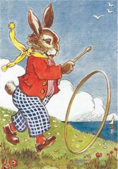 'Rolling Along' Delightful Rabbit Vintage illustration Greeting Card