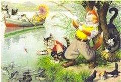 I've Hooked a Big One! Bright Vintage Illustration Greeting Card of Cats Fishing.