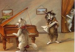 The Singing Lesson. Vintage Illustration Greeting Card of Cats with a Piano.