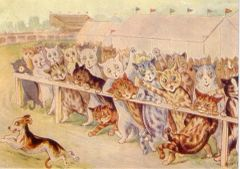 A Day at the Races. Vintage Cat Illustration Greeting Card. Louis Wain.
