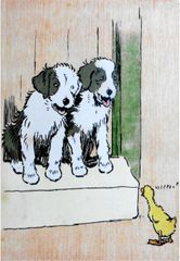 'Are You Coming Out To Play?' Vintage Dog Greeting Card with Illustration by Cecil Aldin.