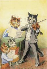 The Family Quartet. Vintage Louis Wain Illustration Greeting Card.