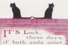 Keeping in Touch. Vintage Black Cat Illustration Correspondence Card.