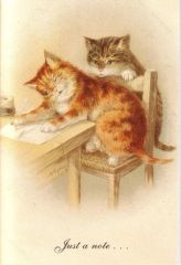 £1 Card!!! 'Just a Note...' Vintage Cat Illustration Greeting Card.