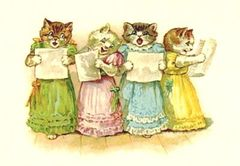 The Cat Chorus. Vintage Illustration Greeting Card.
