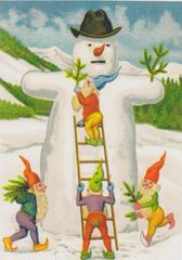 'Adding a Touch of Fir' Vintage Snowman Christmas Card Repro