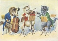 Trio Serenade. Vintage Cat Illustration Correspondence Card.