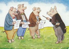 'Three in Fine Voice' Vintage Pig Vocal Group Greeting Card Repro